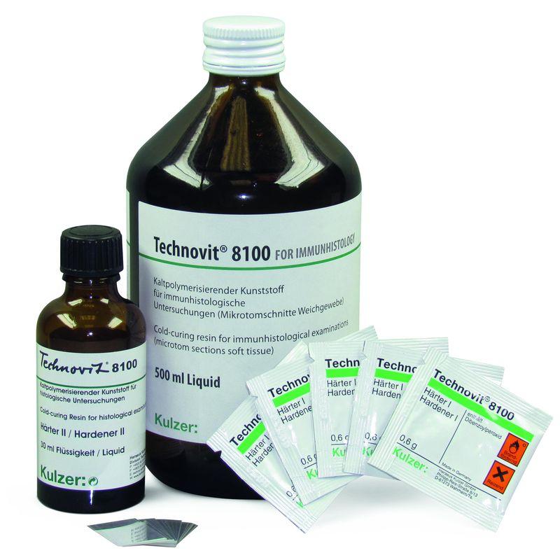Komponenten des Kits Technovit 8100 für die Immunhistochemie